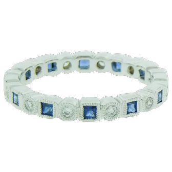 Stackable Blue Sapphire And Diamond Ring
