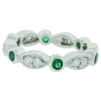 Emerald And Diamond Stackable Ring