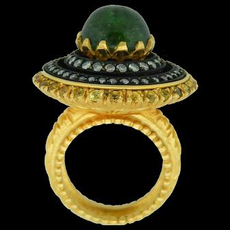 Green Tourmaline And Diamond 18 Karat Gold Ring