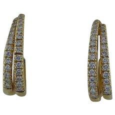 Classic 18 Karat Gold Half Hoop Diamond Earrings
