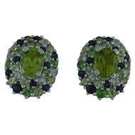 Peridot And Sapphire Earrings