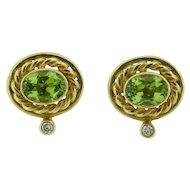 Oval Faceted Peridot 18 Karat Gold Pierced Earrings
