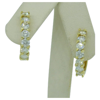 Diamond Hoop Earrings Set in 18 Karat Gold