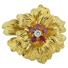 Tiffany & Co. Flower Pin With Ruby