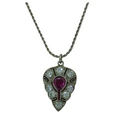 Art Deco Platinum Pendant With Ruby And Diamond