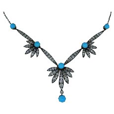 Victorian Turquoise And Diamond Necklace