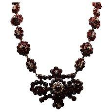 Victorian Gold Filled Bohemian Garnet Necklace