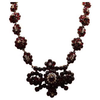 Victorian Gold Filled Bohemian Garnet Necklace