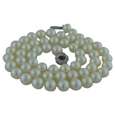Cultured Saltwater Pearl Strand With Ruby And Diamond Clasp
