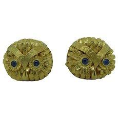 Owl Cufflinks In 14 Karat Yellow Gold With Blue Sapphire Eyes