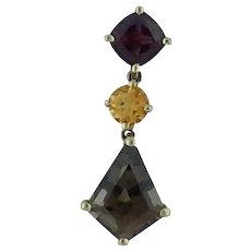 Multi-Gemstone Pendant With Kite Cut Smoky Quartz