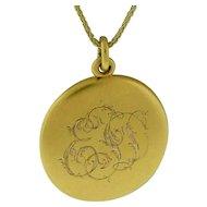 Round Hand Engraved Ladies Locket Stamped 14 Karat Gold