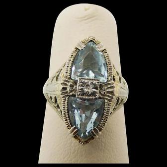Aquamarine Toi et Moi Ring