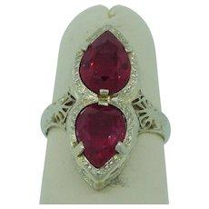 Art Deco Toi Et Moi Ruby Engagement, Wedding, Or Fashion Ring