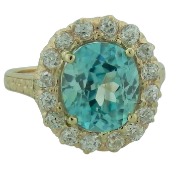 Natural Blue Zircon Gemstone Ballerina Ring With Old Mine Cut Diamonds