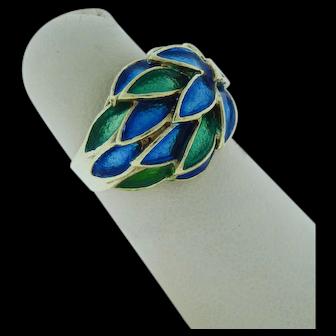 Enamel Leaf Ring