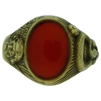 Men's Vintage Gold And Carnelian Ring Featuring The Roman God Of Healing
