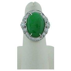 Jadeite Jade And Diamond Platinum Ring
