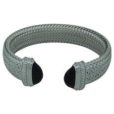 Charles Garnier Black Onyx And Cubic Zirconia Cuff Bracelet