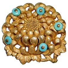 BUTTON~ Very Large 19th. C Carved & Pierced Asian PEONY Flower with Beads