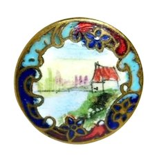 Button ~ Small Hand Painted Champleve Enamel Cottage on a Lake Scene