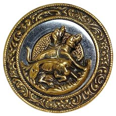 Button LARGE St. Huberts Hound Dogs in Ornate Brass & Steel