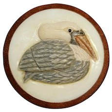Button Large Carved Tagua Nut and Wood SWAN Signed Studio