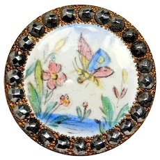 Button Brass Enamel BUTTERFLY in Flowers w/a Bright Cut Steel Border