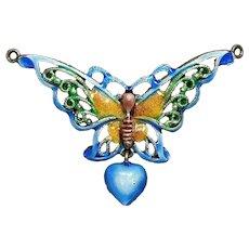 Button Large Metal Basse-Taille Enamel BUTTERFLY w/a Dangle Heart