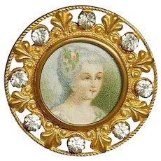 Button French Brass Color Litho under Glass w Paste Jewels A.P& Cie PARIS