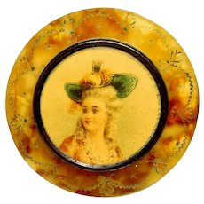 Button Large Engraved Celluloid Wafer with Color Lithograph