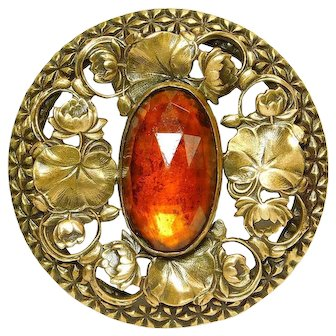 Button X-Large GAY 90'S AMBER Jewel w/Open Work BRASS Water Lilies