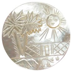 X-Large BETHLEHEM Pearl Button Carved Desert & Smiling Sun Scene