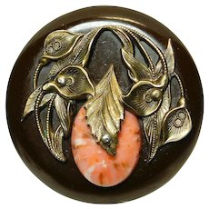 Button X-Large Bakelite Jewel with Brass Art Deco Lilies