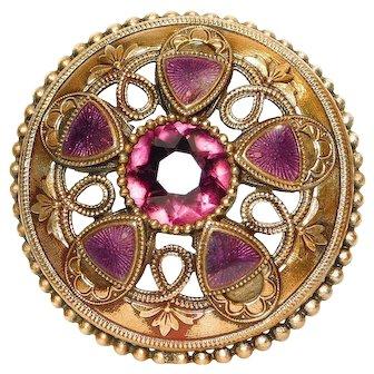BUTTON Pierced Brass ENAMEL Gay 90's Purple AMETHYST Jewel Button