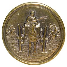 Large Vintage Brass Picture Button Horse Drawn Carriage Nice Purple Tint
