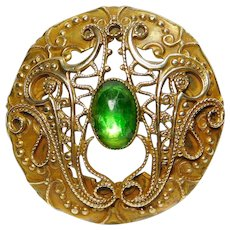 Beautiful X-Large Button~ Ornate Filigree Brass Gay 90's with a Green Jewel