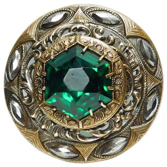 Button LARGE Late 19th C. GAY 90'S Green JEWEL in Pierced Brass with Cut STEEL