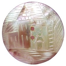 BUTTON~Engraved Pearl Shell Village Street Scene in Shades of Violet Pink