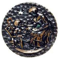 LARGE Vintage Picture Button PORRIDGE TIME  Hammered Brass w/a Steel STAR