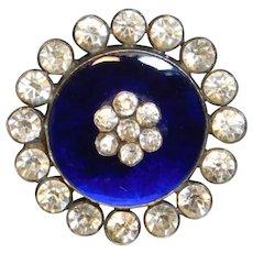 Button- Fine 19th C. Cobalt Blue Glass Gem w Crystal Pastes in Silver