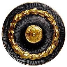 Button~19th C.  Gilt Brass Looks Like Leather  w Laurel Leaf Ring Medium