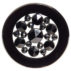 Button~19 th C. LARGE Polished & Faceted Black Glass on Metal