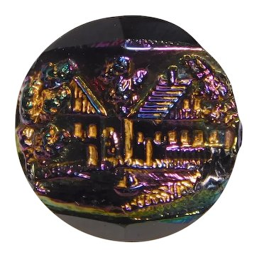 BUTTON~Vintage Carnival Luster Glass Cottage Village Scene Amazing Colors!