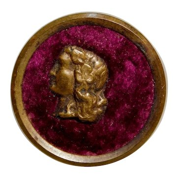 BUTTON~ Late 19th C. Burgundy Velvet Perfume Button w Brass Profile