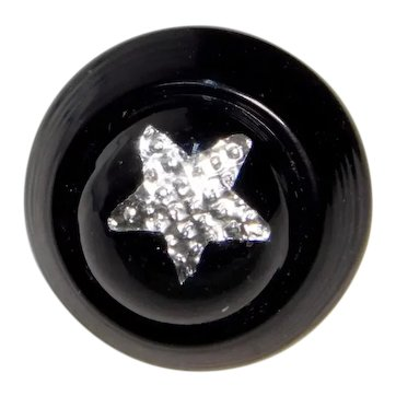 BUTTON~Small Black Glass Swirl Back w an Inset Foil Star