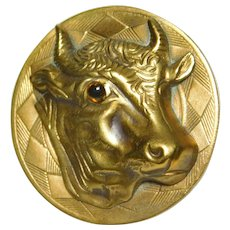 Large VINTAGE Brass COW Bull Head Button with Glass EYE