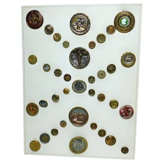 Carded ESTATE LOT of Brass Metal Picture BUTTONS Many Smalls & Larges