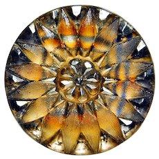 Button SUPERB Large Antique Lacy Glass TARTAN Pattern