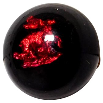 Charmstring BUTTON Red Foil Deer in Black Glass